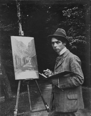 The young  Max Ernst at the easel