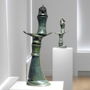 Exhibition space at the Max Ernst Museum with sculptural works by Max Ernst