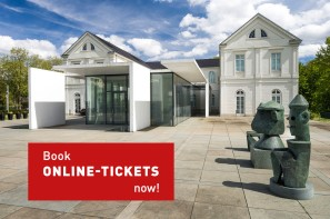 "Foto: The Max Ernst Museum with a textfield ""Book Online Tickets now"""